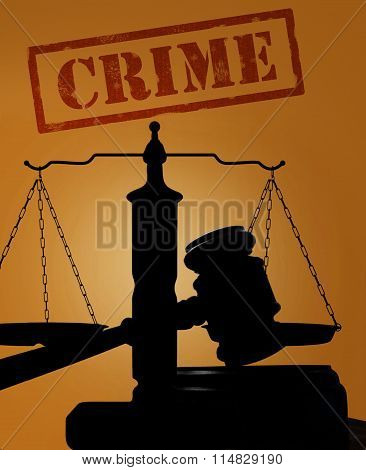 Crime Text With Gavel And Scales