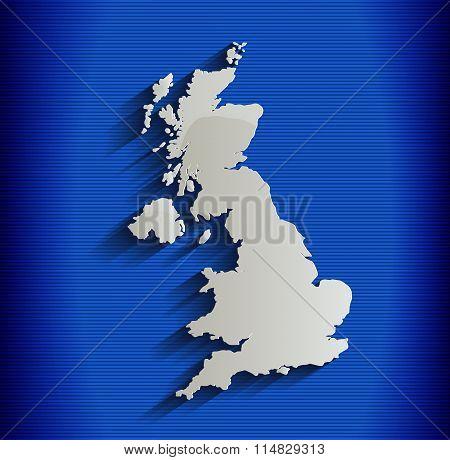United Kingdom map blue line 3D raster Britain