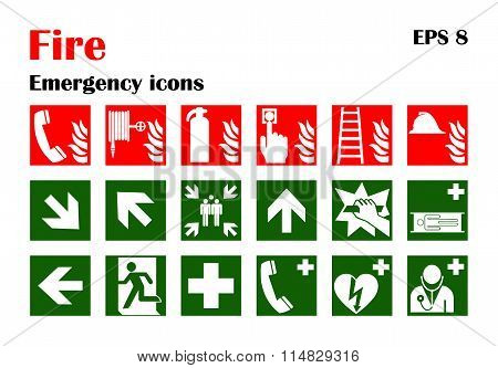 Fire Emergency Icons. Vector Illustration.