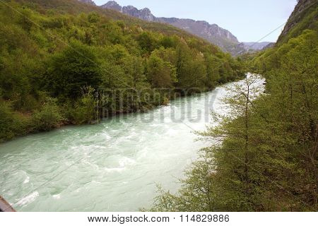 Mountain And Rivertara And Forest In Montenegro