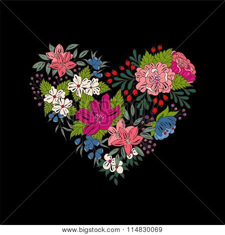 Vector colorful floral heart for Valentines Day