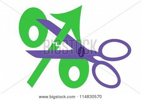 Scissors and green percent sign up