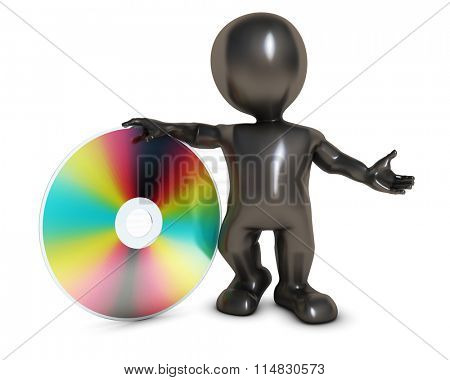 3D Render of Morph Man wih DVD disk