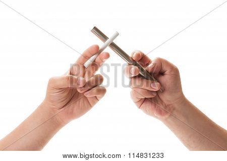 Duel Between Electronic Cigarette And Normal One.