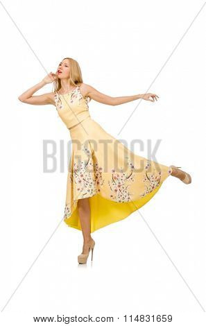 Blond girl in charming dress with flower prints isolated on whit