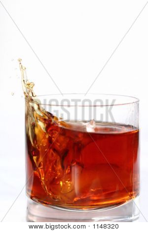 Alcohol Splashing Out Of Glass