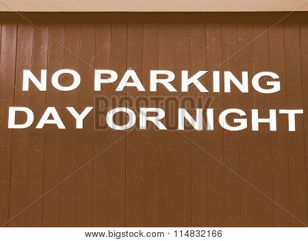No Parking Sign Vintage