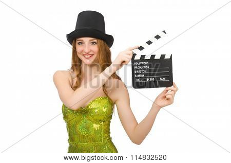 Woman with movie clapboard isolated on white