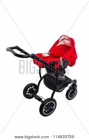 New red modern pram.