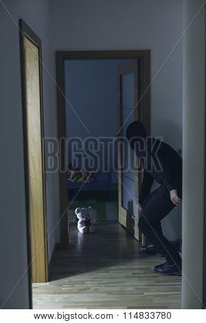 Pedophile Walking Into Child Room