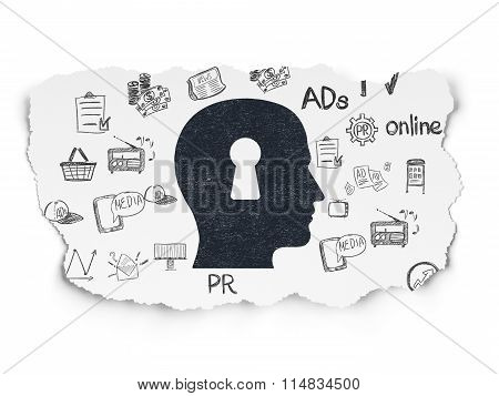 Advertising concept: Head With Keyhole on Torn Paper background