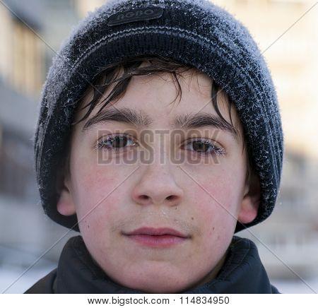 Face  caucasian boy frozen eye lashes siberian winter
