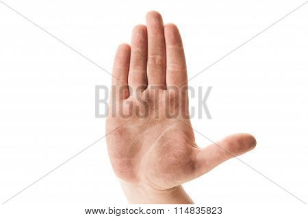 Stop Begging Concept Using Dirty Homeless Hand.
