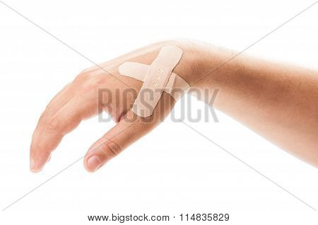 Patched Hand On White Background.