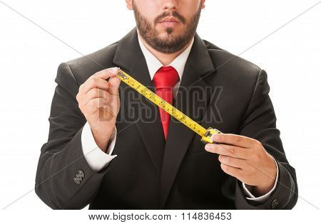 Business Man Holding A Centimeter.