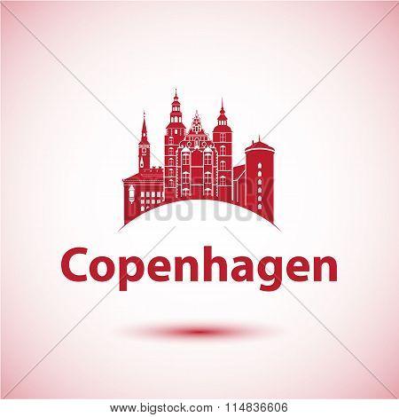 Copenhagen, Denmark. Nordic capital. City skyline silhouette.