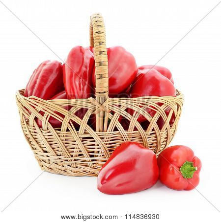 Red Peppers In Basket.