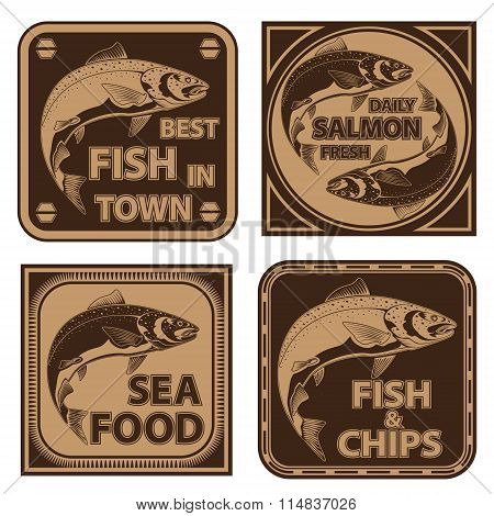 Salmon Fish Fishing Logos Collection 1