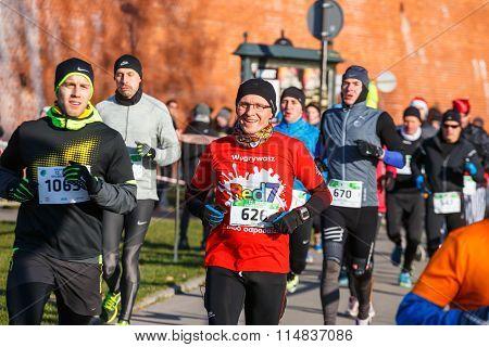 Krakow Poland - December 31 2015: 12th New Year's Eve Race in Krakow.