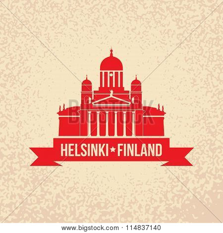 Cathedral the symbol Of Helsinki, Finland, Simple flat concept for tourism presentation, banner, pla