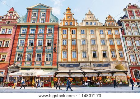 Wroclaw, Poland, 24.06.2015: Unidentified Tourists Visiting Old Town In Wroclaw, Poland