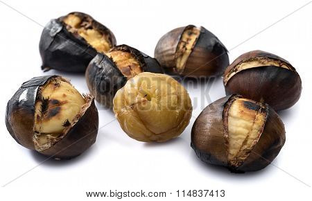 Delicious grilled chestnuts isolated on white background.