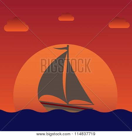 sailboat silhouette over sunset (or sunrise)