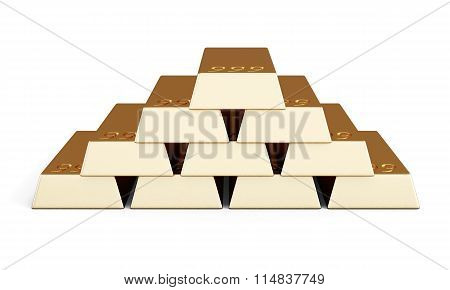 The Pile Of Gold Bars. 3D Rendering.