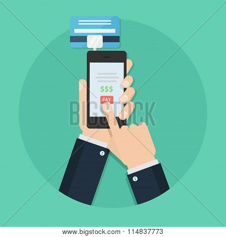 Mobile payment vector flat illustration