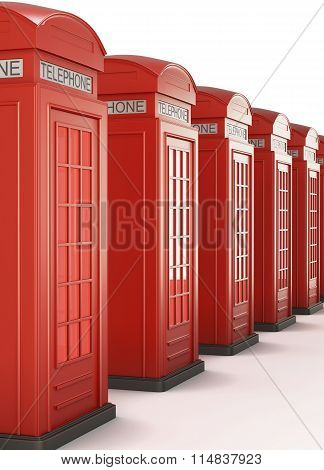 Red Telephone Boxes In A Row. 3D Render Image.