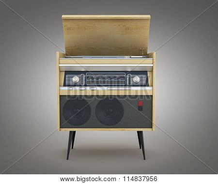 Retro Radio Isolated On A Gray Background. 3D Rendering.