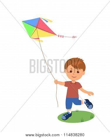 Cheerful boy enjoying flying kite.