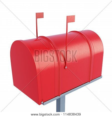 Closed Postage Mailbox. 3D Rendering.