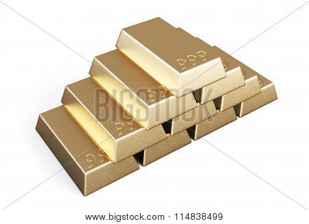 Gold Bars Stacked Pyramid Isolated On White Background.