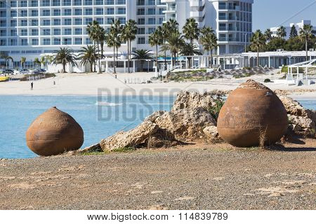 Blue Beach Umbrellas And Sunbeds On Sandy Beach In Ayia Napa, Cyprus