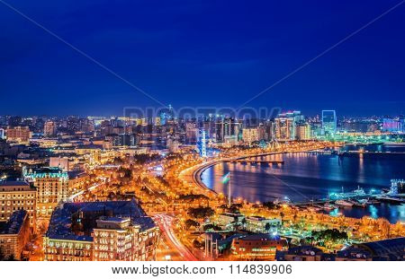 Night view of Baku, Azerbaijan