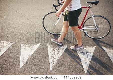 Young Hipster Style Man Cross A Road