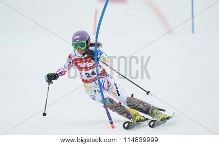 KIRCHBERG AUSTRIA - JANUARY 21 2014: Sarka Strachova during the FIS Alpine Ski Europa Cup Women's Slalom in Kirchberg, Austria