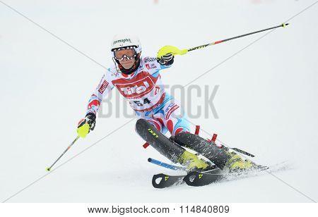 KIRCHBERG AUSTRIA - JANUARY 21 2014: During the FIS Alpine Ski Europa Cup Women's Slalom in Kirchberg, Austria
