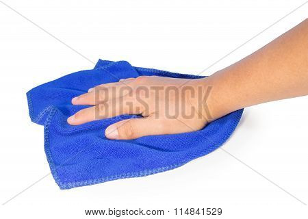 Hand Holding A Blue Cleaning Rag Isolated On White