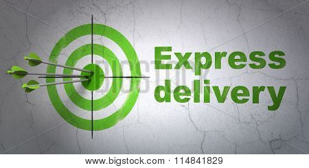 Business concept: target and Express Delivery on wall background