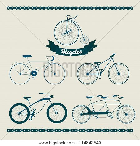 Set Of Different Bicycles