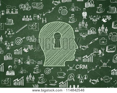 Finance concept: Head With Keyhole on School Board background