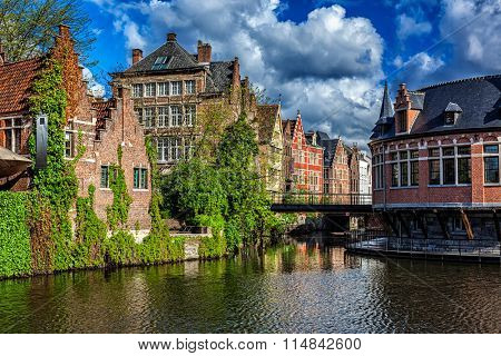 Ghent canal and old houses, Ghent, Belgium