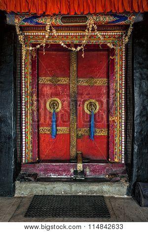 Door of Spituk Gompa (Tibetan Buddhist monastery). Ladakh, India