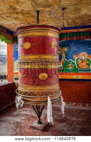 Buddhist prayer wheel in Thiksey gompa (Tibetan buddhist monstery). Ladakh, India