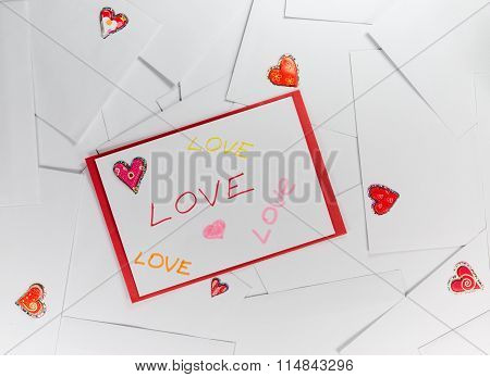 Valentine envelopes with LOVE words