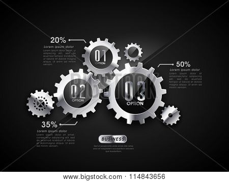 Creative infographic elements with glossy statistical cog wheels for Business concept.