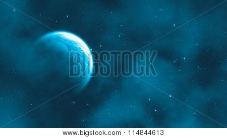 Planets on a starry background.