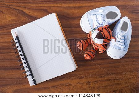 Notebook, Toy And Baby Shoes